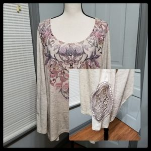 One World Lace Inset Long Sleeve Tee
